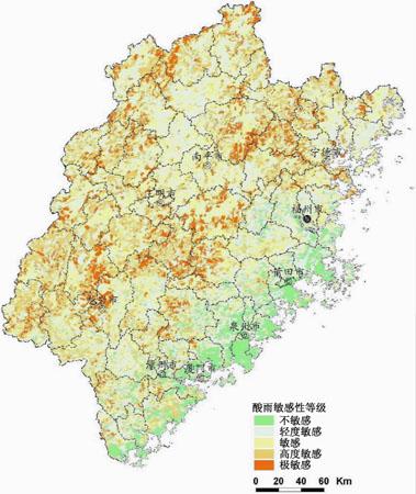 福建省生态功能区划·酸雨相对敏感区域