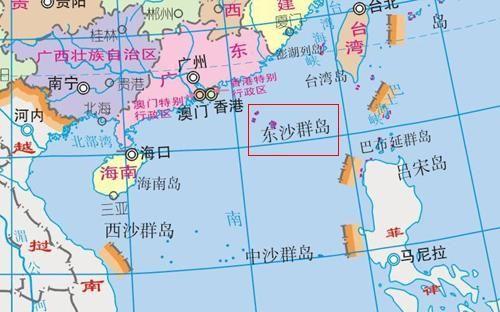 东沙群岛位置示意图