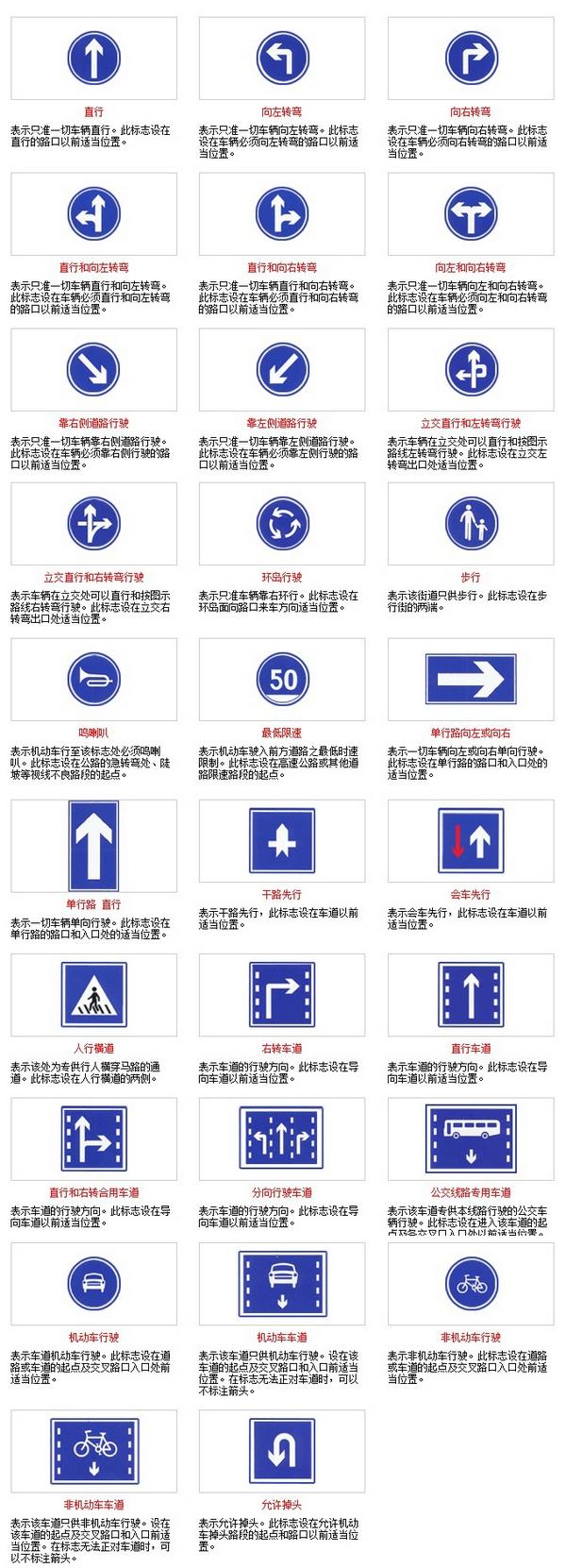 道路指示标志大全 - 道路标识