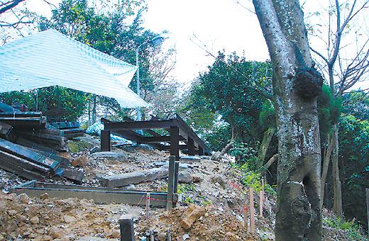 民众抗议市府修缮仙迹岩风景区时,山坡地遭铲平,破坏生态.