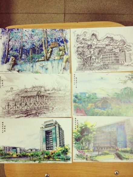 大学生手绘福州高校明信片 网友借此怀念校园时光