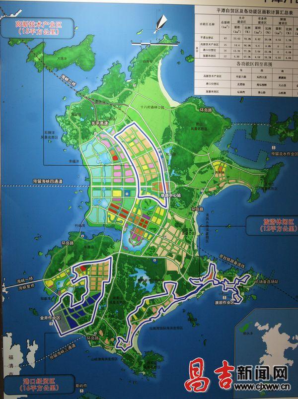 图为平潭自贸区功能区规划示意图.