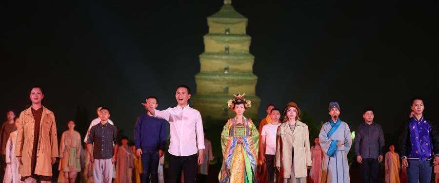 (文化)(3)大型实景舞台剧《再回大雁塔》西安上演