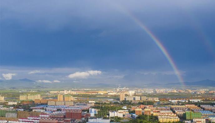 (环境)(1)吉林珲春出现双彩虹